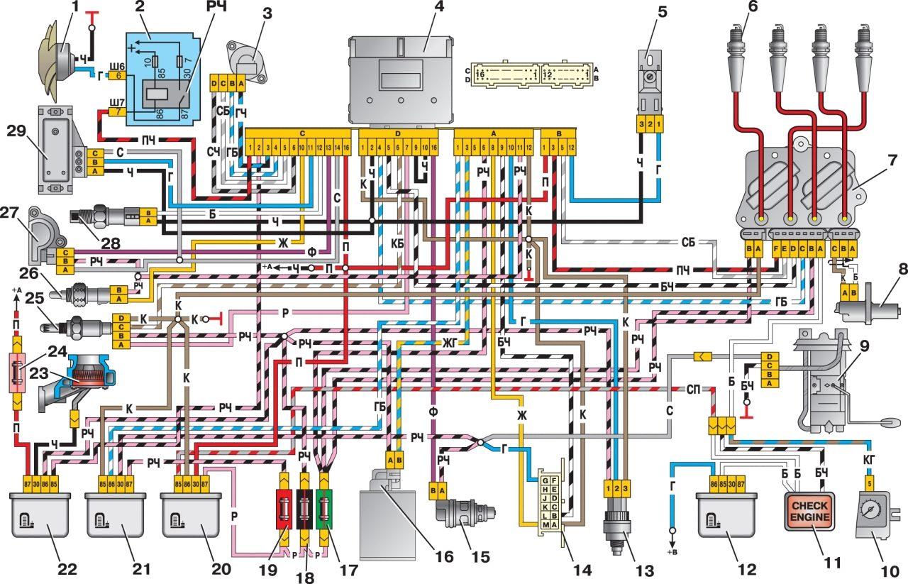 Ваз 21074 электросхема инжектор ваз электросхема схемы