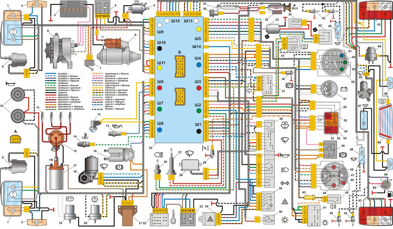 Фото схема проводки ваз 2107