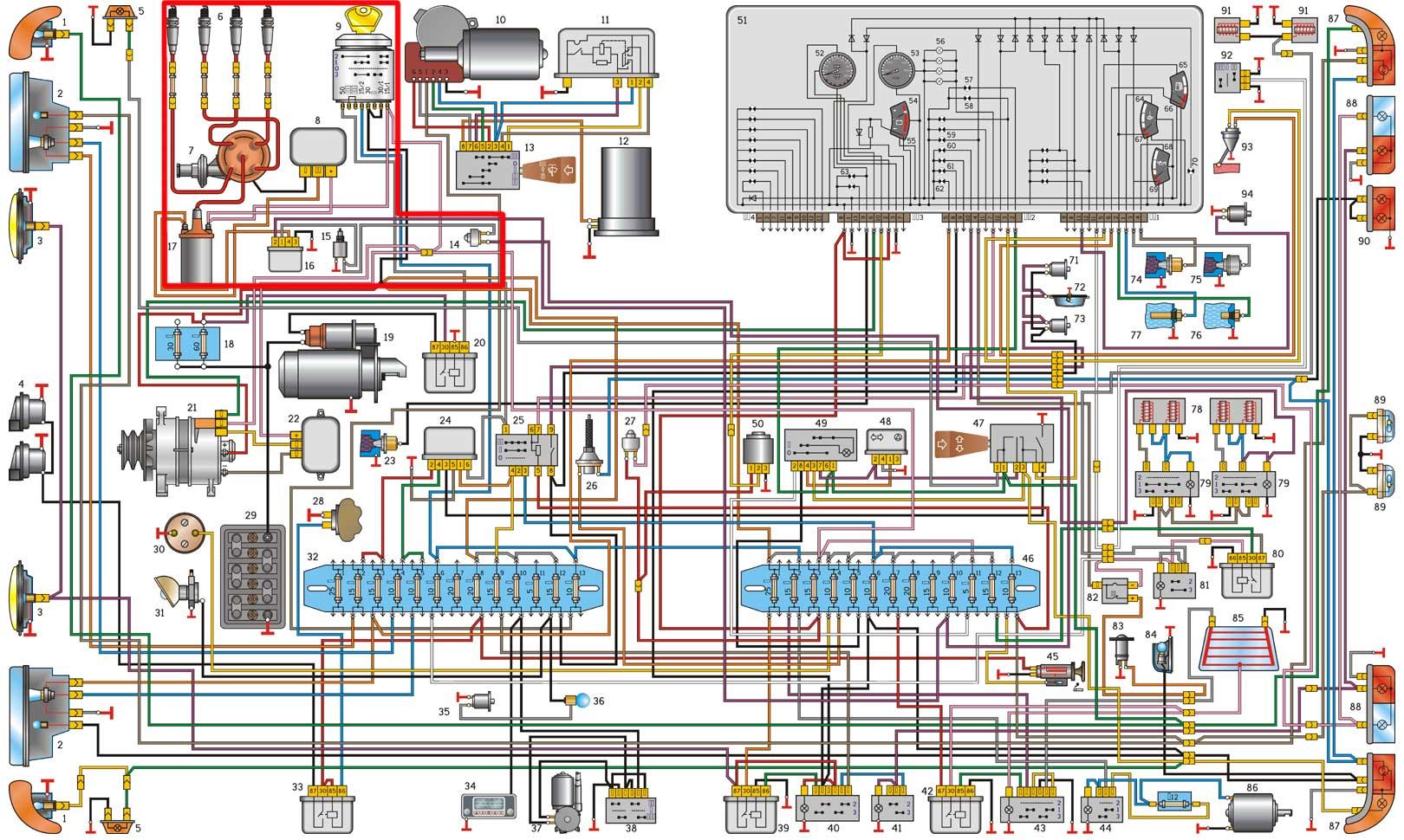 электрический схема цветной уаз 3741